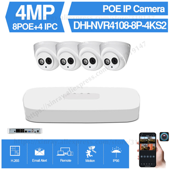 Dahua 4MP 8+4 Security Camera System 4MP IP Camera IPC-HDW4433C-A 8CH POE NVR4108-8P-4KS2 Surveillance P2P System Remote View