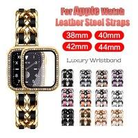 Correa de cuero y acero para reloj de mujer, bandas de lujo para Apple Watch 6 SE 5 4 3 44mm 40mm, pulsera para IWatch Series 6 5 4 3 42mm 38mm