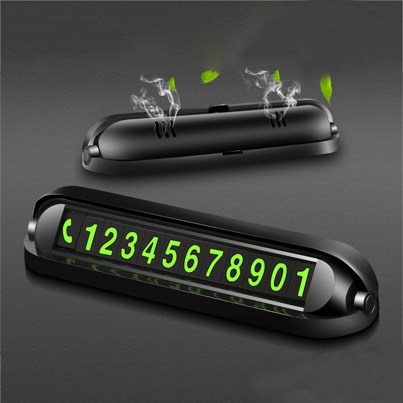 2 In 1 Function Luminous Car Temporary Parking Card Car Air Freshener Phone Number Plate Car Sticker Aromatherapy Accessories
