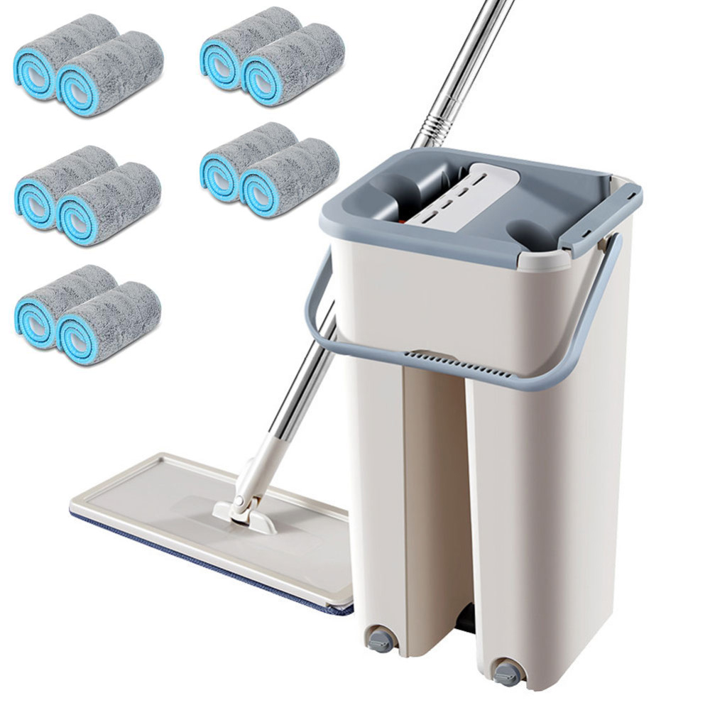 Magic Cleaning Mops Free Hand Spin Cleaning Microfiber Mop With Bucket Flat Squeeze Spray Mop Home Kitchen Floor Clean Tools|Mops| |  - title=