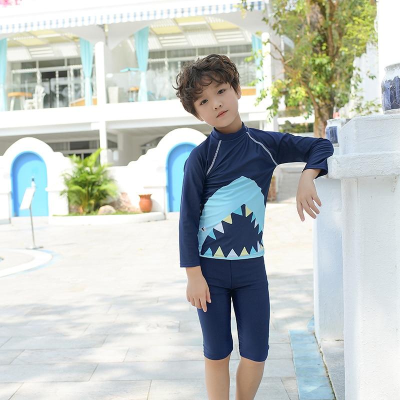 2019 New Style KID'S Swimwear BOY'S Big Boy Swimwear Shark Long Sleeve Sun-resistant Hooded Diving Suit