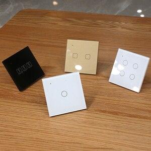Image 5 - Przełącznik do montażu ściennego WIFI Touch czarne szkło Panel niebieski LED EU i UK uniwersalny inteligentny dom sterowane telefonem 2 Gang 2 Way 90 240V Square