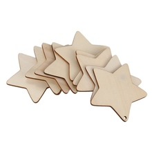 10 x Wooden Star Shapes, Plain Wood Craft Tags with Hole(10cm
