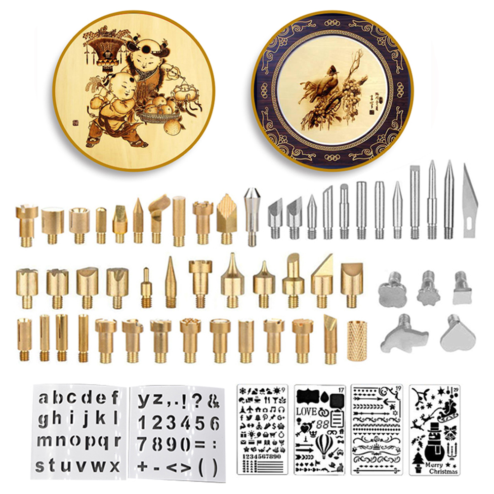 61PCS Wood Burning Tool Kits Craft Set Soldering Pyrography Pen Tips w// Stencil