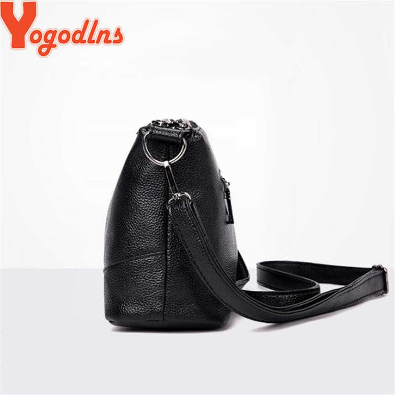 Yogodlns Kantong Ganda Tas Selempang Kulit PU Lembut Wanita Crossbody Tas dengan Dua Tali Bahu Wanita Messenger Tas Hitam