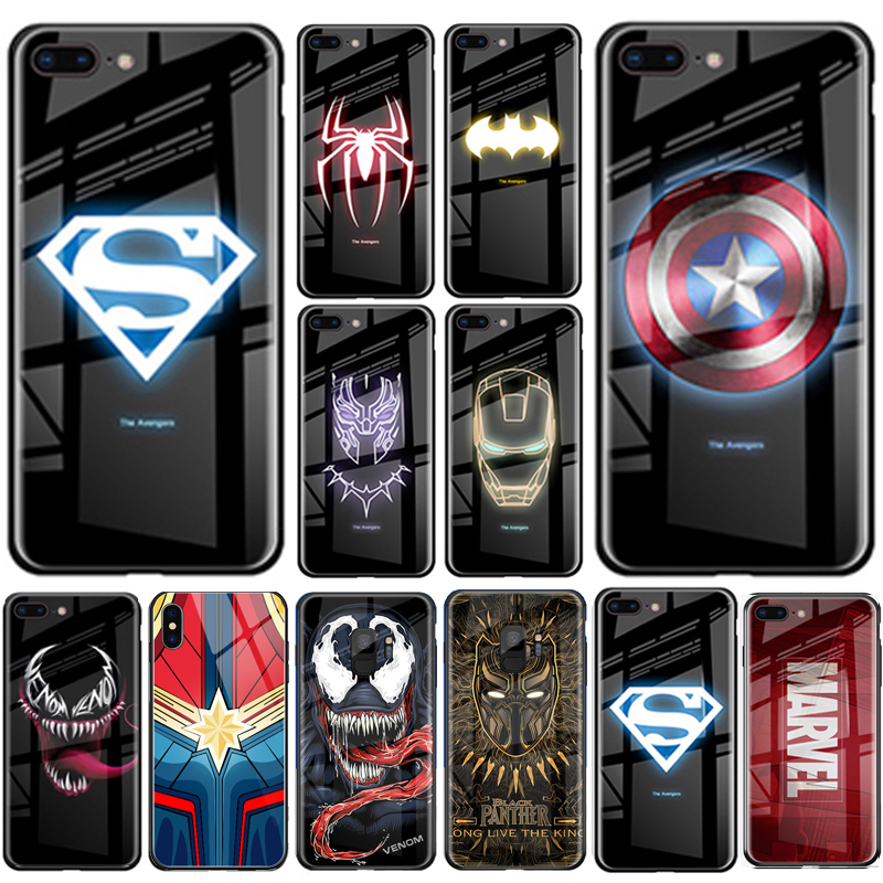 Luxury Superman Marvel Luminous Tempered Glass Phone Case For Huawei P30  Mate 20 Pro For Samsung S8 S9 S10e Plus Note8 9 10 Pro