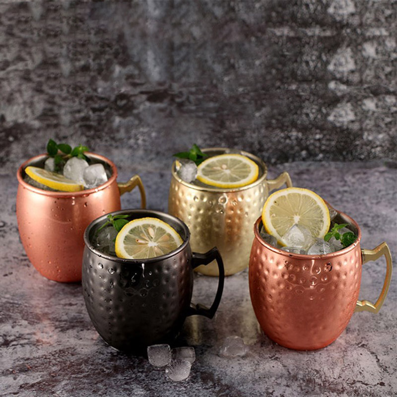 New Mug Moscow Stainless Steel Coffee Mug Creative Mug Cup Double Wall Travel Coffee Milk Tea Cup Gift Copper Plated Mug