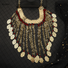 Ethnic Costume Jewelry Necklace Long Chain Beads Necklace Gold Pendent Necklace big size algeria wedding jewelry