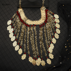 Image 1 - Ethnic Costume Jewelry Necklace Long Chain Beads Necklace Gold Pendent Necklace big size algeria wedding jewelry