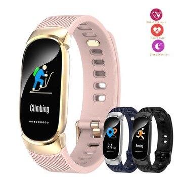 Newest Female Color Screen Smart Bracelet Fitness Heart Rate Monitor Health Sphygmomanometer Pedometer Men Women Fashion Watch