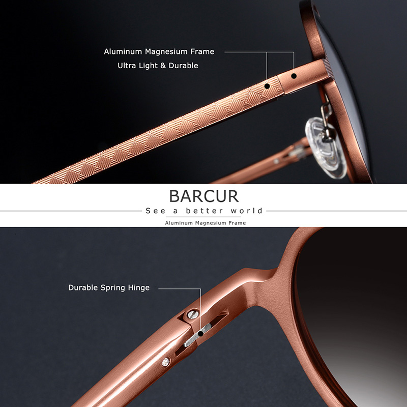 BARCUR Hot Black Goggle Male Round Sunglasses Luxury Brand Men Glasses Retro Vintage Women Sun glasses UV400 Retro Style 2