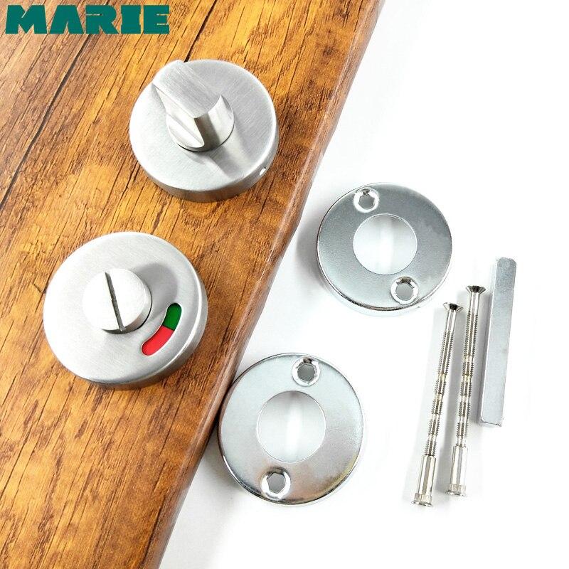 Accessoires de quincaillerie de salle de bain cabine de toilette indicateur WC serrure de porte pouce bouton tournant en acier inoxydable