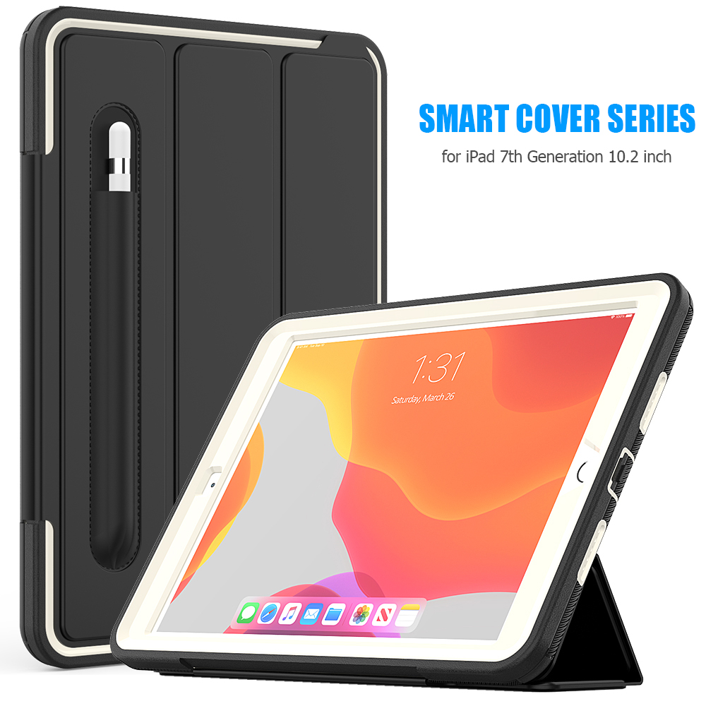 Gray Gray For iPad 7th Generation Case Flip Heavy Duty Rugged Protective Case with Auto Wake Sleep Smart