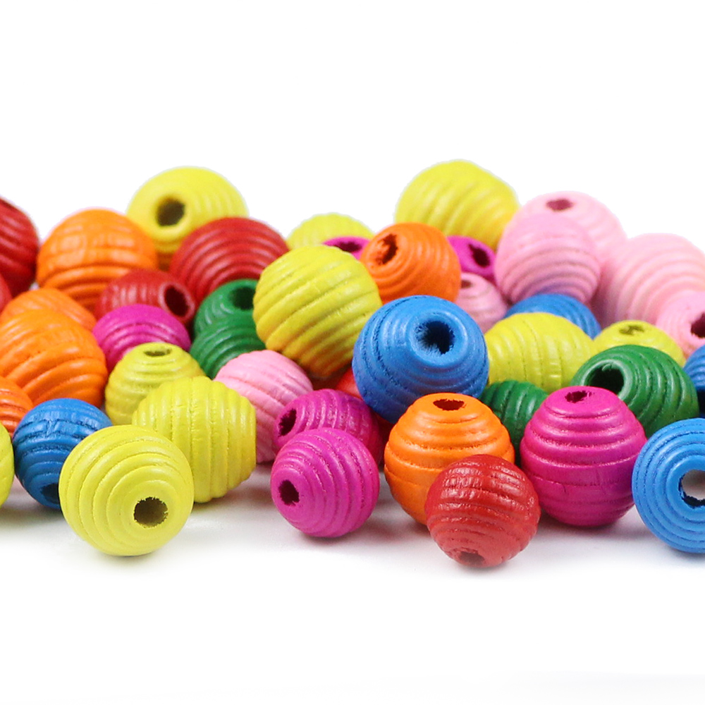 YHBZRET 30pcs Wooden Thread Beads Round Wood Loose Spacer Beads for Jewelry Making Eco-Friendly Handmade Bracelet DIY Kids Toys