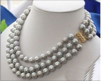 "triple strand AAA 9-10mm natural south sea gray pearl necklace 18-20"" Gold"
