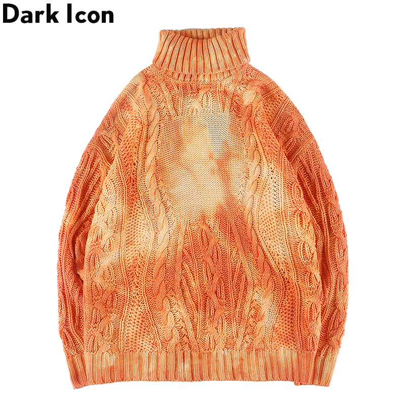 Dark Icon Turtle Neck Tie Dyeing Twist Sweater Men 2019 New Arrival Fashion Men's Sweater Pullover Sweater For Men