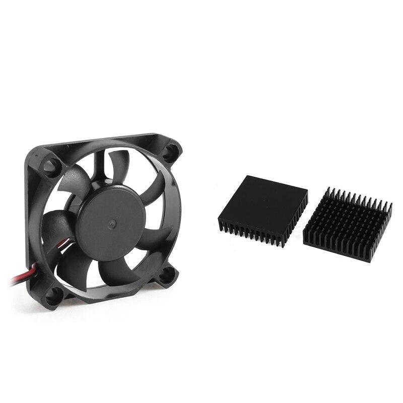 1Pcs 50mm X 10mm DC 12V 2-Pin Connector Computer Case Cooler Cooling Fan & 2 X Black Aluminum Radiator Heat Sink Heat Sink 40 X