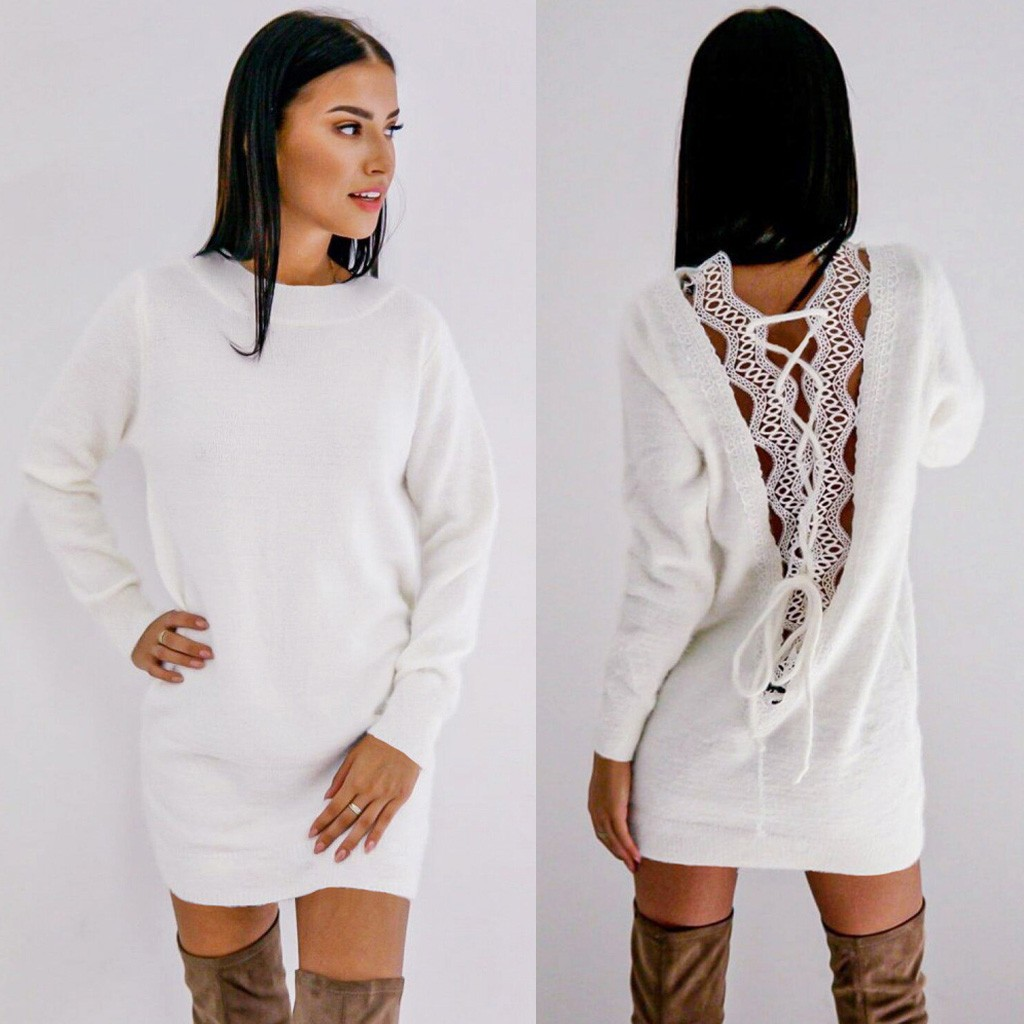Fashion Women Solid O-Neck Long Sleeve Back Hollow Out Mini Swearshirt Dress Sudadera Hombre худи мужские
