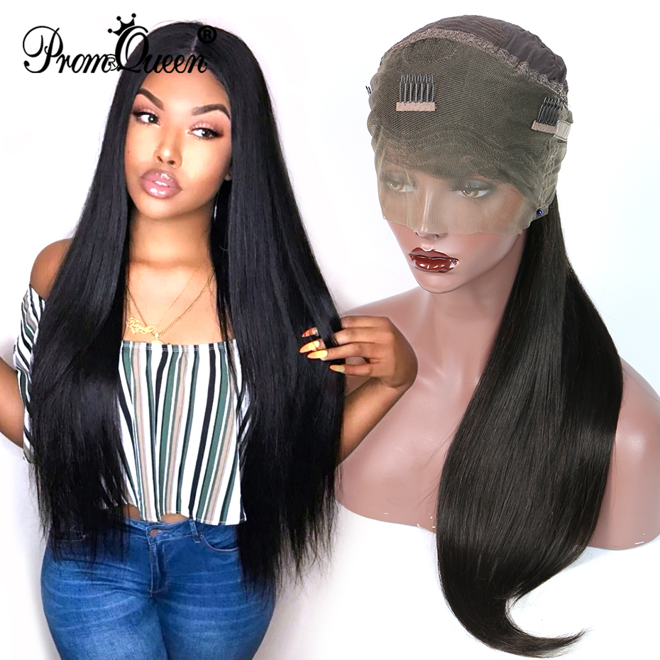 360 Lace Frontal Wigs Brazilian Human Hair Natural Stragiht Glueless Lace Wig For Black Women 150% Density Available