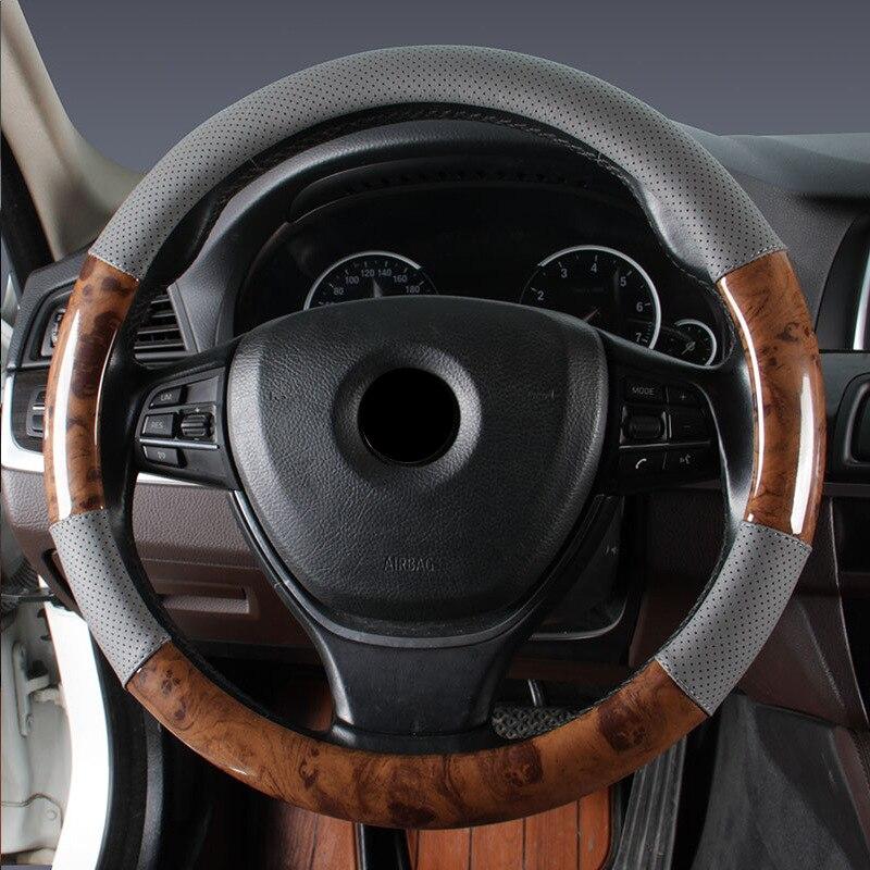 Чехол рулевого колеса автомобиля деревянная зернистая кожа Удобная дышащая оплетка рулевого колеса автомобиля Стайлинг Аксессуары для большинства транспортных средств - Название цвета: Gray 36cm