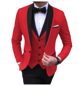 Blue Slit Mens Suits 3 Piece Black Shawl Lapel Casual Tuxedos for Wedding Groomsmen Suits Men 2020 (Blazer+Vest+Pant) 23