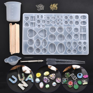 Resin Jewelry Silicone Molds Tools Set UV Epoxy Resin Moulds Jewelry Making DIY Pendant Heart Alphabet Shaped Molds