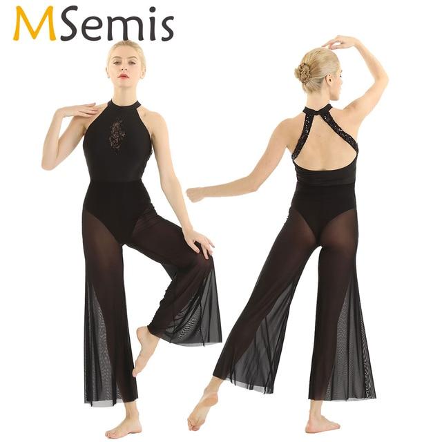 Msemis 여성 현대 서정적 인 댄스 의상 스팽글 레이스 삽입 바디 스 플레어 퀼로트 발레리나 댄스웨어 발레 바디 수트
