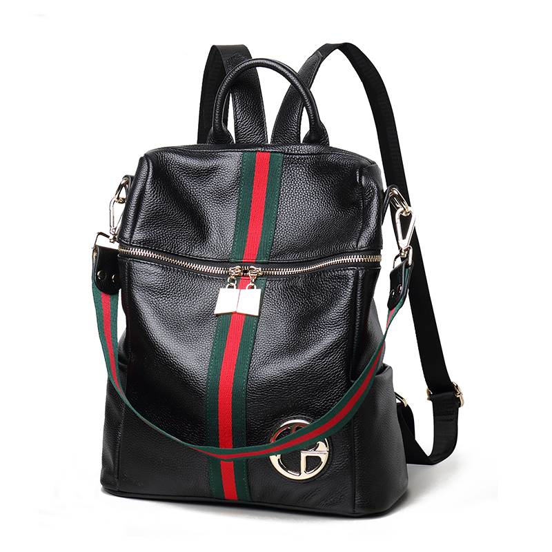 New Backpack Female Genuine Leather Women Backpacks School Bag Stripe Multifunctional Cow Leather Back Pack Shoulder Bag