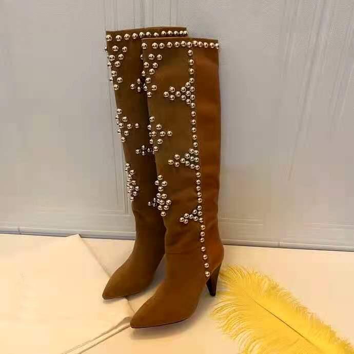 Sapatos femininos paris lyork botas prata-tom studs