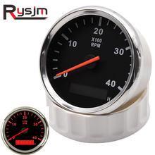 Tacómetro de motor universal de 85mm + reloj de arena LCD, medidor de 0 ~ 4000 RPM, tacómetro impermeable, camión automóvil motocicleta, barco, luz trasera roja de 12V/24V