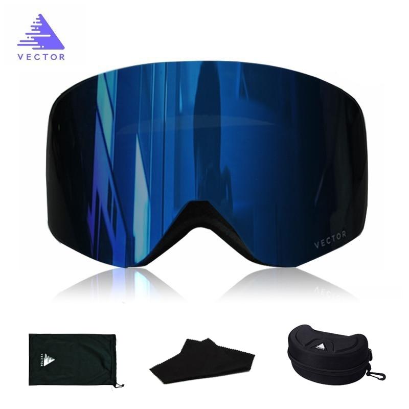 Lunettes de ski OTG de protection anti-neige UV400 pour homme et femme,masque de snowboard et de neige, à double antibuée cylindrique, pour adulte,