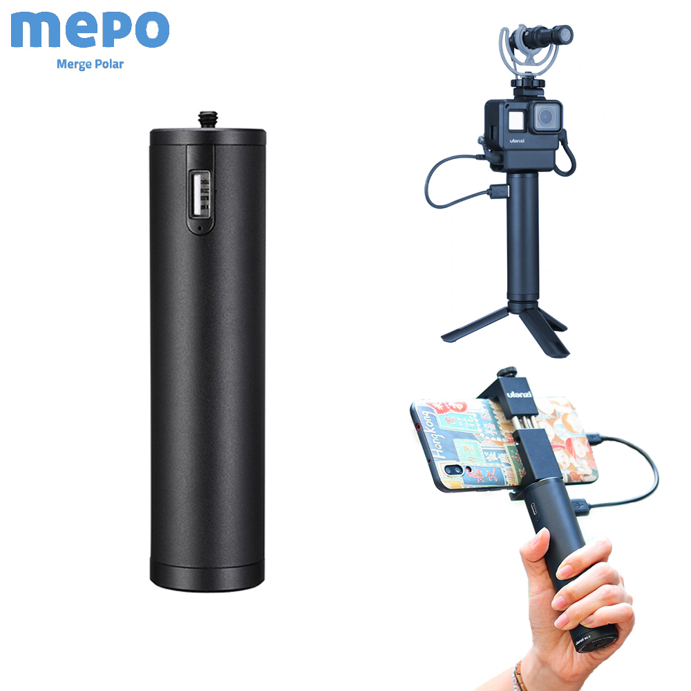 DSLR Camera Photography Hand Grip For Gopro 7 6 5 Osmo Pocket Power Bank Handle Phone Live Shooting Battery Charger ULANZI
