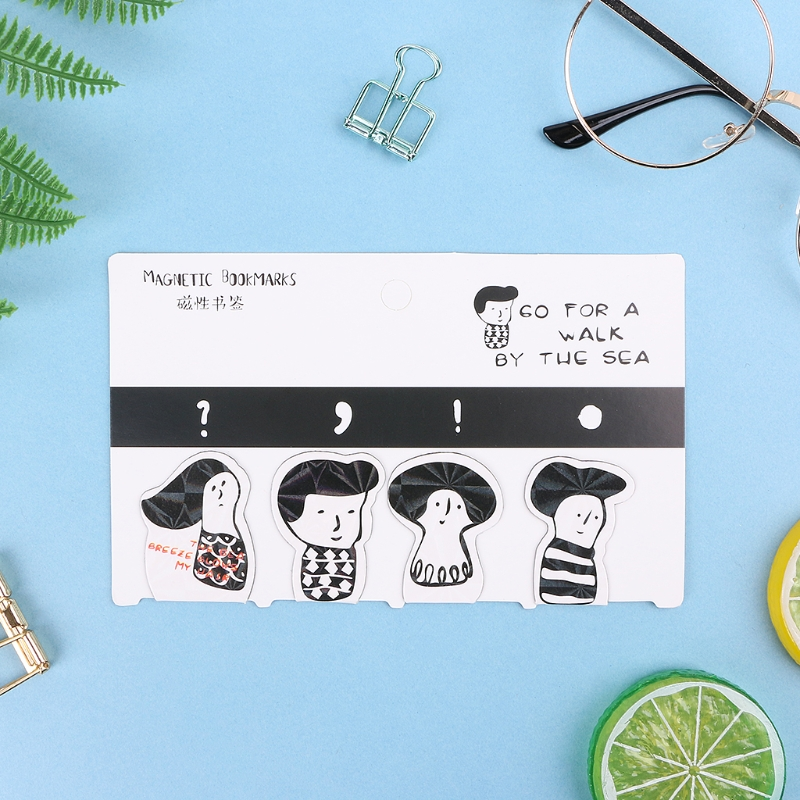 4Pcs /Set Creative Cat Bear Magnetic Bookmarks Stationery School Office Supply