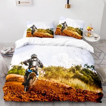 Nowy Sport ekstremalny Off-road Stunt motocykl zestaw pościeli pojedyncze podwójne pełna królowa duży rozmiar łóżko-zestaw Aldult sypialnia kołdra 001 tanie i dobre opinie 100 poliester Ameryka Północna Kołdra i 2 sztuk poszewki na poduszkę 3D druku 90gsm CN (pochodzenie) podstawowe Bez wzorków
