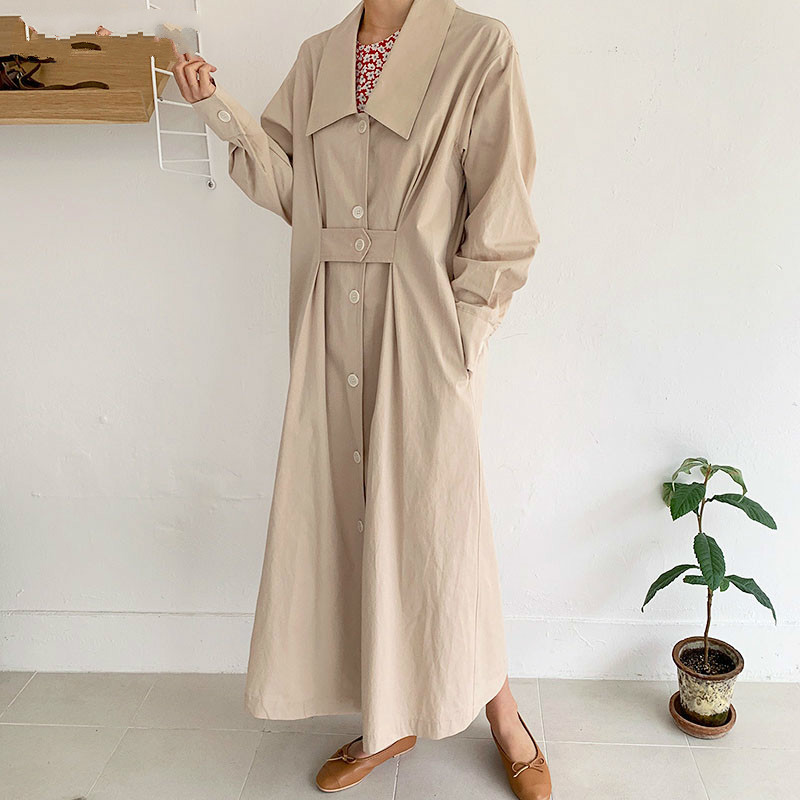 TVVOVVIN Korean Style   Trench   Coat For Women 2019 Autumn Cotton Casual Wild Ladies Windbreaker Lapel Single-breasted Coats D364