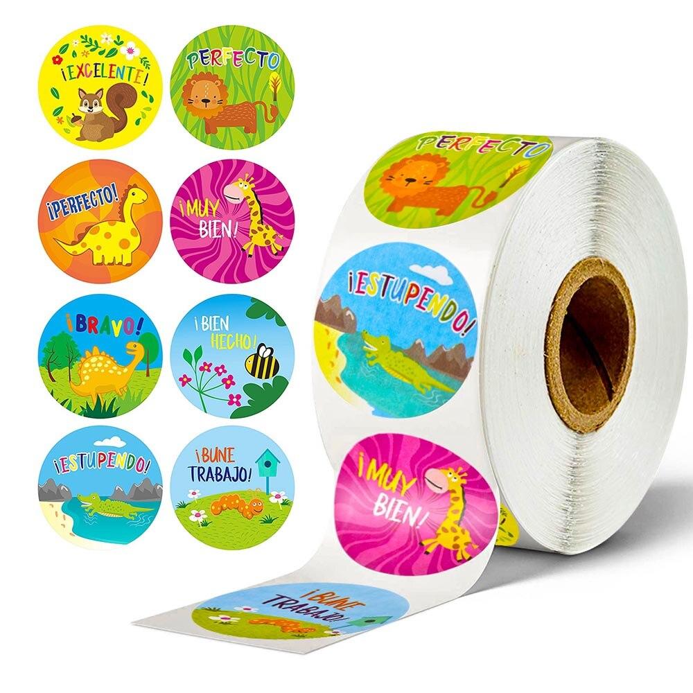 500 шт., Стикеры для взрослых, испанская наклейка Espanol в 8 дизайнах животных для учителя, классная комната, игрушки наклейка