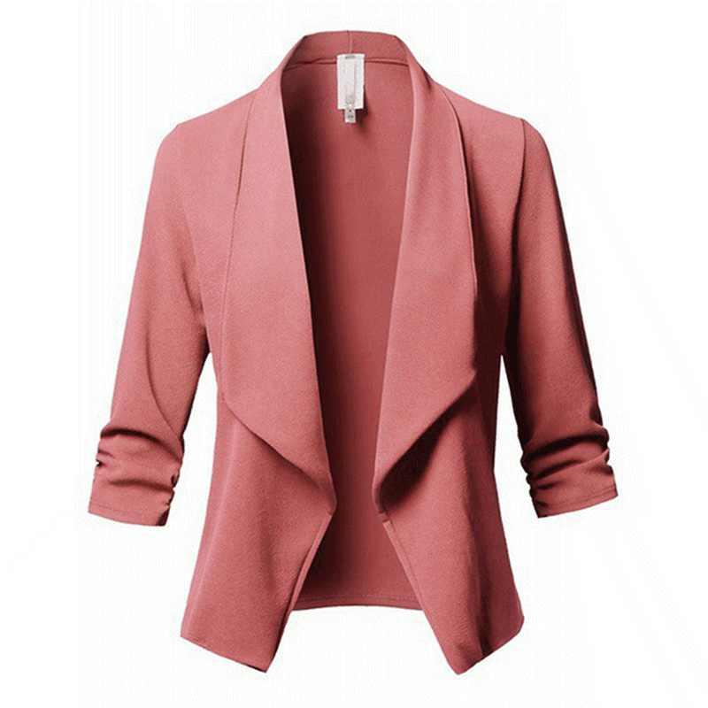Bigsweety новинка женские Формальные куртки для офиса работы открытая передняя часть