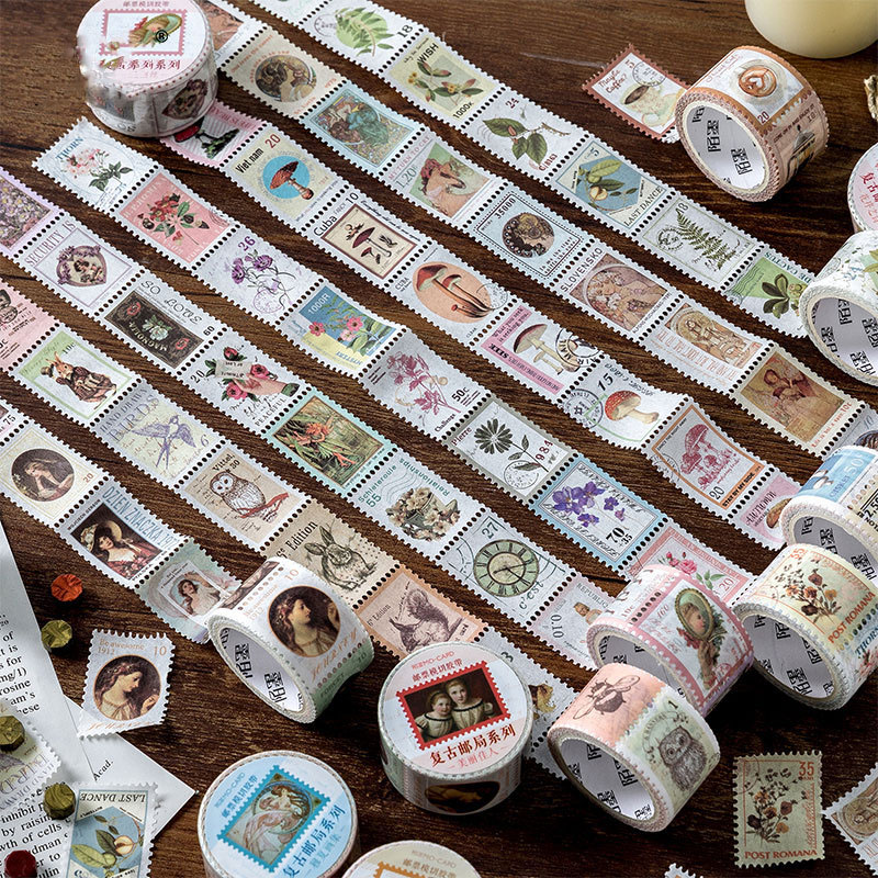 Mohamm Vintage Stamps Series Color Washi Masking Tape Release Paper Stickers Scrapbooking Stationery Decorative Tape