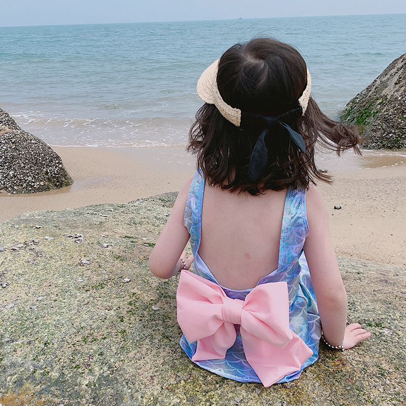 Girl'S One-piece Swimming Suit Mermaid Skirt CHILDREN'S Swimsuit Small Children Gradient Large Bow Backless V Back Hot Springs