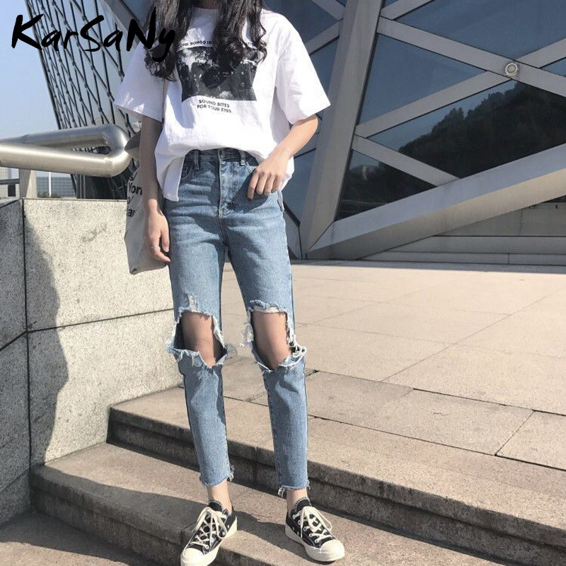 KarSaNy High Waisted Ripped Jeans For Women Denim Pants Female Women's Jeans Broken Hole Jeans Destroyed Women 2020 Spring