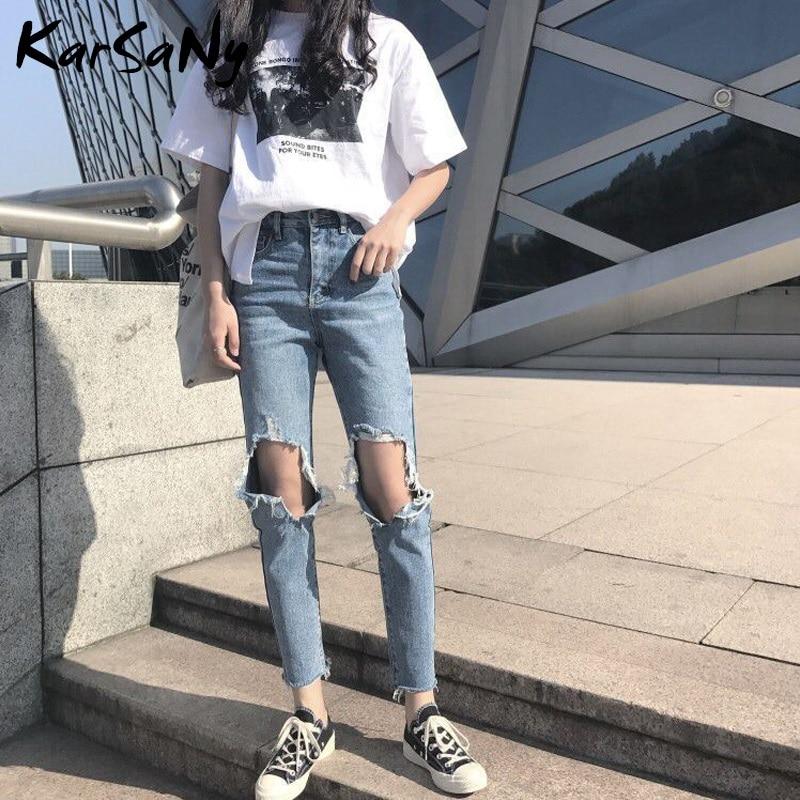 KarSaNy High Waisted Ripped Jeans For Women Denim Pants Female Women's Jeans Broken Hole Jeans Destroyed Women 2020 Spring