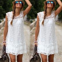 2020 letnie sukienki damskie seksowne panie bez rękawów białe kwiatowe z frędzlami koronkowe Mini sukienki suknie wieczorowe moda tuniki topy tanie tanio NoEnName_Null Poliester women dress Koronki Lato Naturalne Czeski Proste Stałe O-neck REGULAR Powyżej kolana Mini