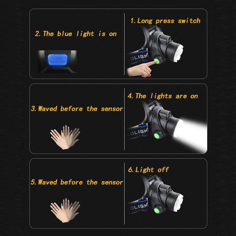 8000LM IR Sensor LED Scheinwerfer Smart Licht 5/3 T6 Zoom High Power Wiederaufladbare Angeln Laterne 18650 Kopf Taschenlampe Wasserdicht
