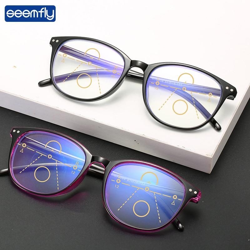Seemfly Anti-blue Light Progressive Multifocal Reading Glasses Women&Men Classic Square Frame Presbyopia Glasses With+1.0to+4.0