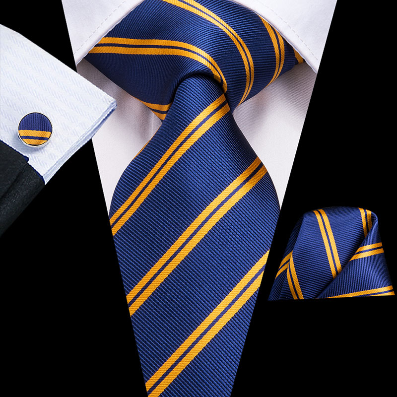 C-3136 Men Tie Blue Silk Woven Necktie New Striped Solid Hanky Cufflinks Set Classic Business Wedding Pocket Square Tie 8.5cm