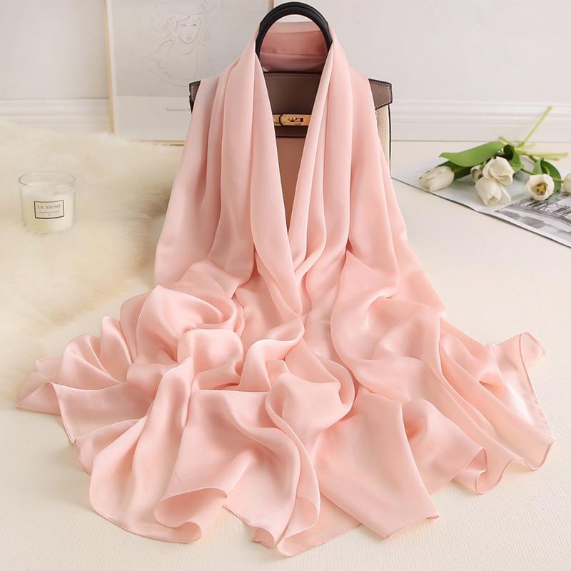 Women Silk Scarves 2020 Luxury Solid Foulard Hijab Pashmina Shawls Wraps Lady Winter Scarves Long Bufanda Thin