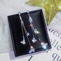 New sparkling butterfly tassel earrings five-pointed star long earrings European and American ladies fashion earrings jewelry