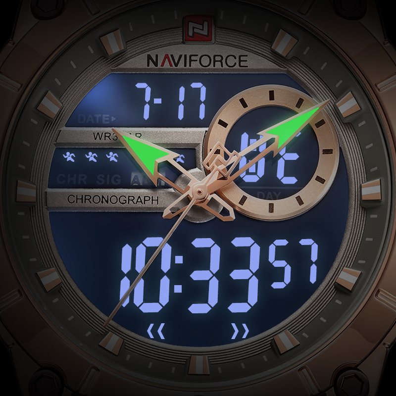 Image 2 - NAVIFORCE Men Watch Top Luxury Brand Men's  Sports Military Watches Full Steel Waterproof Quartz Digital Clock Relogio Masculino-in Quartz Watches from Watches