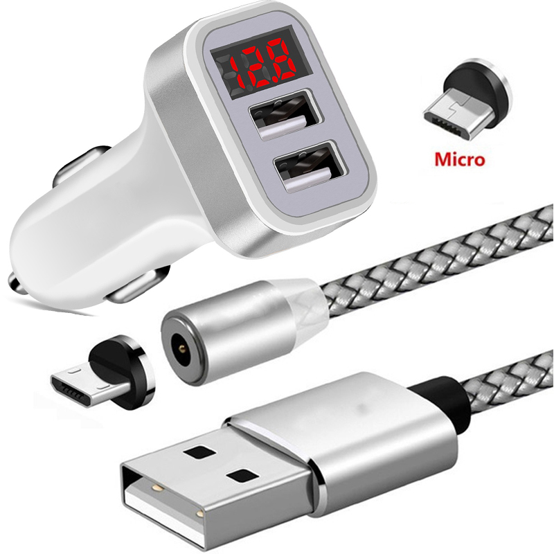 Magnetic LED Micro USB Cable For <font><b>Google</b></font> 5 5X 6P <font><b>Pixel</b></font> 2 XL 3 XL <font><b>Pixel</b></font> <font><b>3A</b></font> XL 4 XL BQ Magic 5070 LED Display Dual USB Car <font><b>Charger</b></font> image