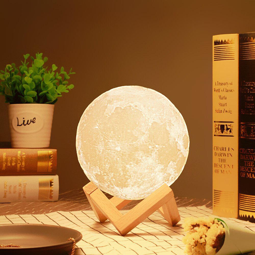 3D Print Moon Lamp USB Charge Moonlight LED Dimmable Touch/Pat/Remote Switch Night Light Bedside Decor Adults Kids Birthday Gift